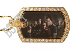 Iced Out CZ Gold TWILIGHT GROUP Photo Dog Tag BLING CHARM