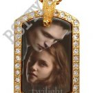Iced Out CZ Gold TWILIGHT EDWARD BELLA Photo Dog Tag BLING CHARM