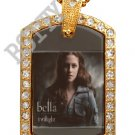 Iced Out CZ Gold TWILIGHT BELLA SWAN Photo Dog Tag BLING CHARM