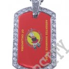 ABSENTEE SHAWNEE OK INDIAN FLAG Iced Out CZ BLING Dog Tag