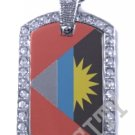 ANTIGUA FLAG Iced Out CZ BLING Charm Dog Tag