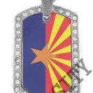 ARIZONA AZ STATE FLAG PENDANT Iced Out CZ BLING Charm Dog