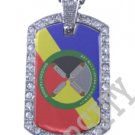 BAY MILLS AMERICAN INDIAN FLAG Iced Out CZ BLING Dog Tag