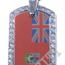 BERMUDA FLAG PENDANT Iced Out CZ BLING Charm Dog Tag
