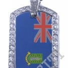 BRITISH VIRGIN ISLANDS FLAG PENDANT Iced Out CZ BLING Charm Dog Tag