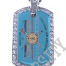 CHEYENNE ARAPAHO INDIAN FLAG Iced Out CZ BLING Dog Tag