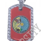 CHIPPEWA CREE INDIAN FLAG Iced Out CZ BLING Dog Tag