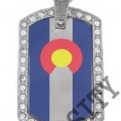 COLORADO CO STATE FLAG PENDANT Iced Out CZ BLING Charm Dog