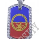 COMANCHE NATION INDIAN FLAG Iced Out CZ BLING Dog Tag