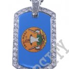 CROW AMERICAN INDIAN FLAG Iced Out CZ BLING Dog Tag