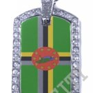 DOMINICA DOMINICAN FLAG PENDANT Iced Out CZ BLING Charm Dog Tag
