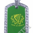 Erin Go Braugh BRAGH FLAG PENDANT Iced Out CZ BLING Charm Dog Tag