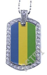 GABON Gabonese Republic FLAG Iced Out CZ BLING Charm Dog Tag