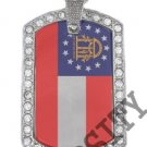 GEORGIA GA STATE FLAG PENDANT Iced Out CZ BLING Charm Dog Tag