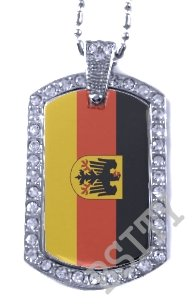 GERMAN GERMANY EAGLE FLAG Iced Out CZ BLING Charm Dog Tag