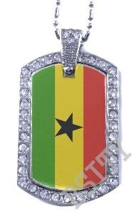 GHANA Ghanaian FLAG Iced Out CZ BLING Charm Dog Tag