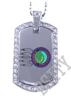 GRAND RONDE INDIAN FLAG Iced Out CZ BLING Dog Tag
