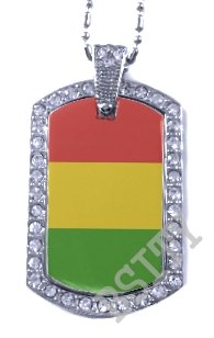 GUINEA GUINEAN FLAG Iced Out CZ BLING Charm Dog Tag