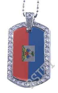HAITI HAITIAN FLAG PENDANT Iced Out CZ BLING Charm Dog Tag