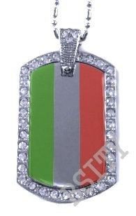 HUNGARY HUNGARIAN FLAG PENDANT Iced Out CZ BLING Charm Dog Tag