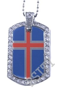 ICELAND ICELANDIC FLAG PENDANT Iced Out CZ BLING Charm Dog Tag