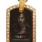 SAM TRUE BLOOD PHOTO GOLD CZ BLING CHARM Dog Tag NECKLACE