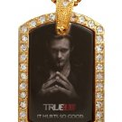 ERIC TRUE BLOOD PHOTO GOLD CZ BLING CHARM Dog Tag NECKLACE