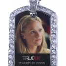 SOOKIE TRUE BLOOD PHOTO 2 SILVER CZ BLING CHARM Dog Tag NECKLACE