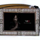 SAM MERLOTTE PHOTO TRUE BLOOD BLING ICED OUT CZ SILVER BELT BUCKLE
