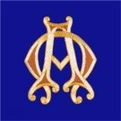"Embroidered Applique for Vestment Alpha Omega Symbol Size:  8"" x 6 1/2"" NEW"
