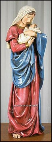 """Virgin Mary and Baby Jesus Mother's Kiss Stone Resin Statue 23"""" High"""