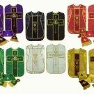 Red, Green, Gold or White, Black, Purple Chasuble Fiddleback Vestment 5 Set Lot