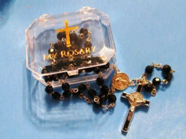 """Saint Benedict Acrylic Black Faceted Rosary 19.5""""L 6MM Beads + My Rosary Case"""