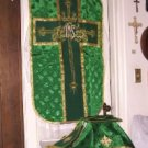 Green Chasuble Vestment Fiddleback 5 Pcs NEW + Maniple, Stole, Veil, Burse Latin