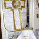 White Chasuble Set Vestment Fiddleback Agnus Dei NEW + Veil,Burse,Stole,Maniple
