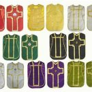 Red, Green, White, Violet, Black, Gold Chasuble Fiddleback 6 Vestment Set Lot