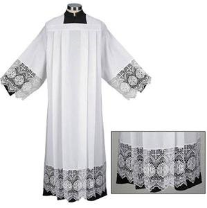 Catholic Square Neck Rochet Alb with Latin IHS Cross Lace Size: EXTRA LARGE
