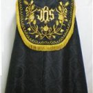 Black Cope Vestment & Stole Gold Embroidery Lined for Requiem Latin Mass
