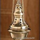 "Catholic Hanging Brass Censer 9 1/2"" High x 2 3/4"" Diameter x 34 1/2"" Chain"