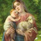 Catholic Picture Print Virgin Mary Baby Jesus with Lamb Cromo of Italy