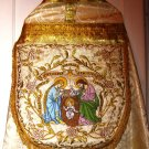 Vintage Style Christmas Vestment Cope Gold Damask Fabric Embroidered
