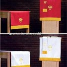 Christian Vestment Pulpit Scarf+Bookmark+Table Runner Set Reversible Red/White