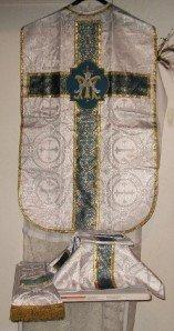 Marian Chasuble Set Fiddleback Vestment Latin Mass NEW White/Silver Brocade
