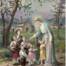 Catholic Picture Print Virgin Mary with Children by Cromo of Italy 8x10