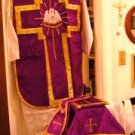 Purple Chasuble Set Vestment Fiddleback Pelican 5 Pcs+Veil,Burse,Maniple,Stole
