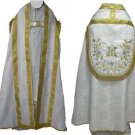 Marian White Cope Vestment w/ Stole Gold Silver Embroidery Satin Lined Catholic