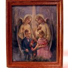 Vintage First Communion Picture Print Catholic Boy Girl Guardian Angels Oak
