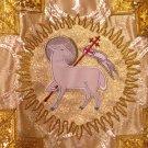 Gold Brocade Agnus Dei Fiddleback Chasuble Set + Veil, Burse, Maniple, Stole