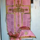 Rose Chasuble Set Vestment Fiddleback 5 Pc NEW+Maniple,Stole,Veil,Burse