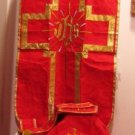 Red Chasuble Set Fiddleback IHS Latin Mass NEW + Stole,Maniple,Veil,Burse